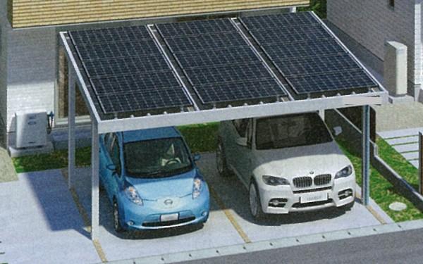 住宅のカーポートに太陽光パネルを設置